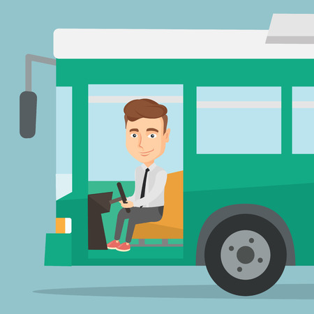 Caucasian bus driver sitting at steering wheel. Bus driver driving passenger bus. Bus driver in drivers seat in cab. Vector flat design illustration. Square layout. Vettoriali