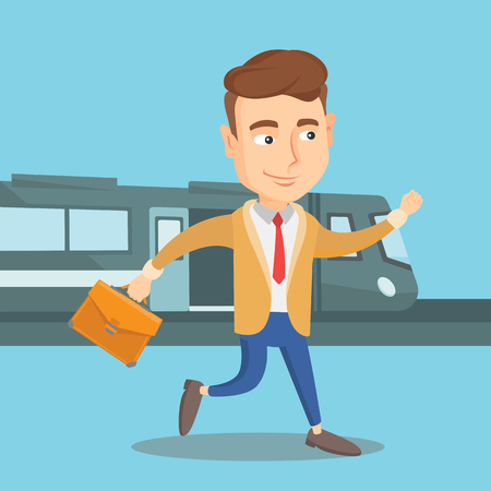 Young caucasian businessman walking on the train platform on the background of train. Man going out of train. Happy businessman at the train station. Vector flat design illustration. Square layout. Illustration