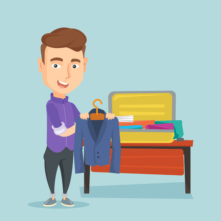 Young businessman packing his clothes in an opened suitcase. Smiling caucasian businessman putting a suit into a suitcase. Man preparing for vacation. Vector flat design illustration. Square layout. Illustration