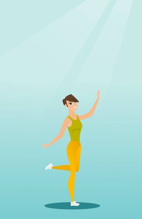 positive energy: Cheerful young woman dancing with passion. Full length portrait of a happy caucasian woman dancing. Smiling woman during dance workout. Vector flat design illustration. Vertical layout.