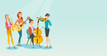 Band of musicians playing musical instruments. Group of young musicians playing musical instruments. Band of musicians performing with instruments. Vector flat design illustration. Horizontal layout.