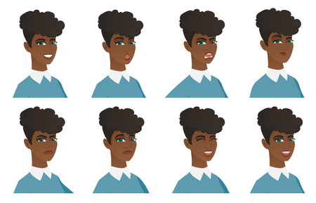 African-american cleaner in uniform thinking. Young cleaner thinking and looking to the side. Set of cleaner with different emotions. Vector flat design illustrations isolated on white background.
