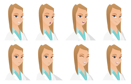 Caucasian doctor with sad facial expression. Portrait of sad young doctor. Set of female doctor with different facial emotions. Set of vector flat design illustrations isolated on white background. Иллюстрация