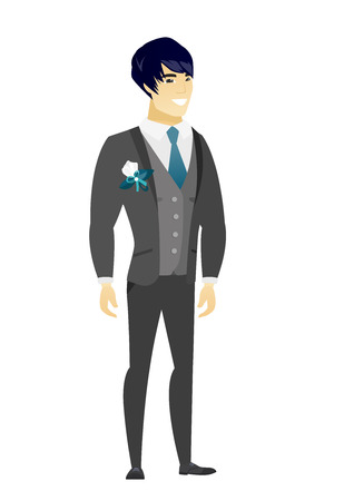 fiance: Young asian confident groom in a wedding suit. Full length of smiling confident groom. Groom standing in a pose signifying confidence. Vector flat design illustration isolated on white background. Illustration