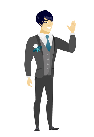 Young asian groom in a wedding suit waving his hand. Full length of groom waving his hand. Groom making greeting gesture - waving hand. Vector flat design illustration isolated on white background