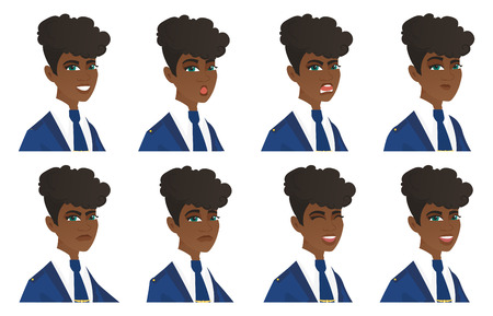 African stewardess with sad facial expression. Portrait of sad young stewardess. Set of stewardess with different facial emotions. Set of vector flat design illustrations isolated on white background. Иллюстрация
