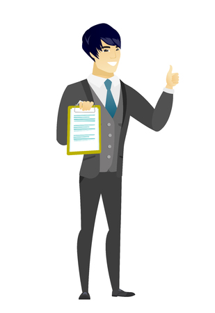 fiance: Asian groom holding clipboard and giving thumb up. Full length of groom in a wedding suit with clipboard. Groom showing clipboard. Vector flat design illustration isolated on white background.