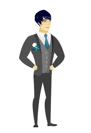 Young asian groom in a wedding suit laughing. Groom laughing with hands on his stomach. Groom laughing with closed eyes and open mouth. Vector flat design illustration isolated on white background