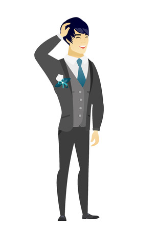 Asian bridegroom laughing. Young bridegroom laughing with hands on his head. Bridegroom laughing with closed eyes and open mouth. Vector flat design illustration isolated on white background.