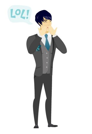 laugh out loud: Young asian groom laughing out loud. Happy groom and speech bubble with text - lol. Groom laughing out loud and covering his mouth. Vector flat design illustration isolated on white background. Illustration