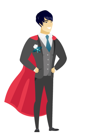 Young asian groom wearing a red superhero cloak. Full length of groom dressed as a superhero. Successful groom superhero in red cloak. Vector flat design illustration isolated on white background. Stock Illustratie