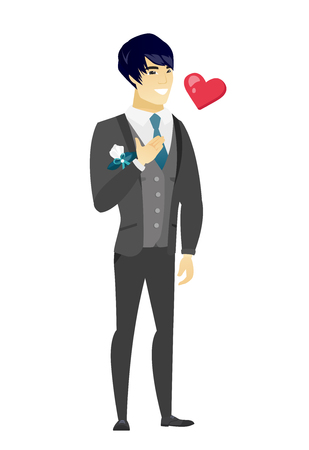 Asian groom in a wedding suit holding hand on chest. Full length of young happy groom with hand on his chest and heart flying nearby. Vector flat design illustration isolated on white background.