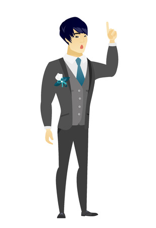 length: Asian bridegroom with open mouth pointing finger up. Full length of young bridegroom with open mouth came up with successful idea. Vector flat design illustration isolated on white background. Illustration