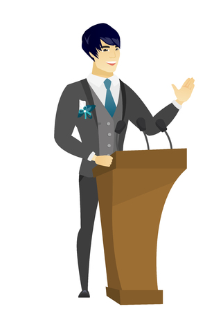 asian business meeting: Groom speaking to audience from the tribune. Groom giving a speech from the tribune. Groom standing behind the tribune with microphones. Vector flat design illustration isolated on white background.