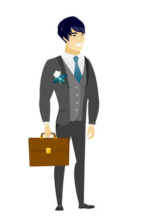 length: Asian bridegroom holding a briefcase. Full length of bridegroom with a briefcase. Smiling bridegroom in a wedding suit holding a briefcase. Vector flat design illustration isolated on white background