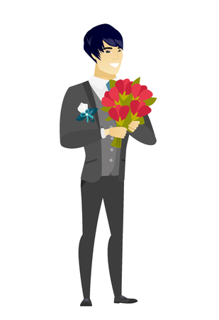 Asian groom in a wedding suit holding a bouquet of flowers. Full length of groom with a bouquet of flowers. Happy groom with flowers. Vector flat design illustration isolated on white background. Illustration