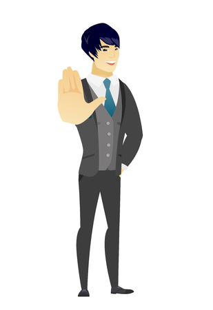 fiance: Asian groom in a wedding suit showing palm hand. Full length of young groom showing palm hand. Groom making stop gesture by his palm. Vector flat design illustration isolated on white background.