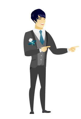 Asian groom indicating with two fingers to the side. Full length of groom in a wedding suit pointing with two fingers to the side. Vector flat design illustration isolated on white background. Illustration