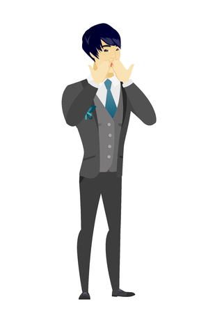 Shoked asian bridegroom covering his mouth with hands. Full length of young shoked bridegroom. Groom with a shocked facial expression. Vector flat design illustration isolated on white background.