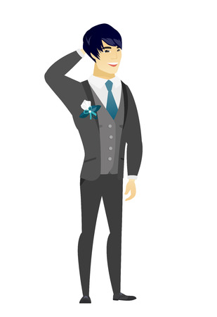 Young asian groom scratching his head. Full length of groom in a wedding suit touching his head. Happy groom holding hand behind head. Vector flat design illustration isolated on white background. Illustration