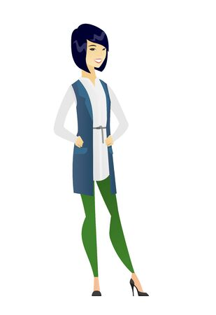 length: Young asian confident business woman. Full length of confident business woman. Business woman standing in a pose signifying confidence. Vector flat design illustration isolated on white background.