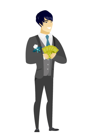 Happy asian groom holding money. Excited groom in a wedding suit standing with money in hands. Full length of smiling groom with money. Vector flat design illustration isolated on white background
