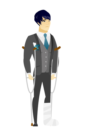 Injured asian bridegroom with broken leg on crutches. Groom with broken leg in bandages. Full length of bridegroom with broken leg. Vector flat design illustration isolated on white background. Illustration