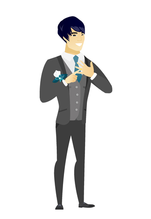Asian cheerful groom showing golden ring on his finger. Young joyful groom with wedding ring on a finger. Vector flat design illustration isolated on white background.