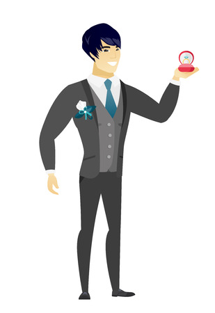 length: Asian smiling groom holding a red gift box with a diamond ring. Full length of young groom holding wedding ring in a box. Vector flat design illustration isolated on white background.