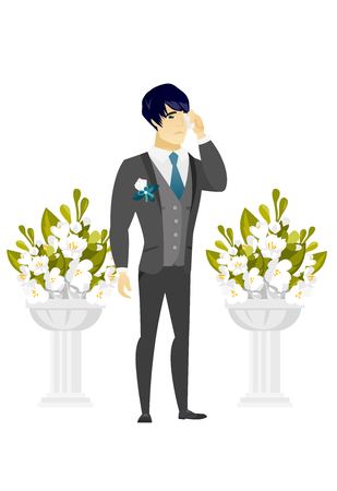 Young asian sorrowful groom in a suit crying during wedding ceremony. Upset groom waiting for a bride and crying in front of wedding altar. Vector flat design illustration isolated on white background
