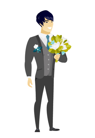 Young asian groom with a bridal bouquet. Merry smiling groom in a suit holding a wedding bouquet. Vector flat design illustration isolated on white background.