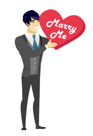 Young asian happy man making a marriage proposal. Smiling man holding valentine card with text marry me. Concept of marriage proposal. Vector flat design illustration isolated on white background.