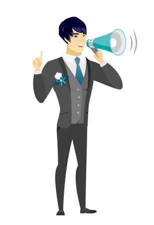 Asian bridegroom with a megaphone making an announcement. Bridegroom making an announcement through megaphone. Concept of announcement. Vector flat design illustration isolated on white background.