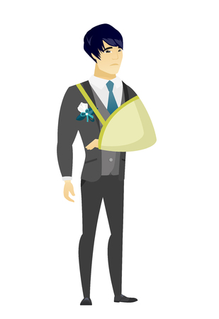 Injured asian bridegroom wearing an arm brace. Bridegroom with broken arm in sling. Full length of young bridegroom with broken arm. Vector flat design illustration isolated on white background. Illustration