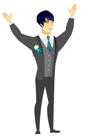 fiance: Successful asian bridegroom jumping with raised arms up. Full length of young happy bridegroom jumping in the air and celebrating success. Vector flat design illustration isolated on white background.