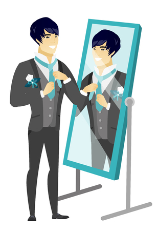 Cheerful asian groom has a final preparation before the wedding in front of the mirror. Groom looking in the mirror and adjusting tie. Vector flat design illustration isolated on white background.