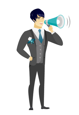 Asian bridegroom with a loudspeaker making an announcement. Full length of bridegroom making an announcement through a loudspeaker. Vector flat design illustration isolated on white background.