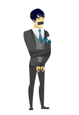 Young asian groom tied up with rope and gagged with adhesive tape. Groom taken hostage. Groom with tape on his mouth and bound hands. Vector flat design illustration isolated on white background. Stock Illustratie