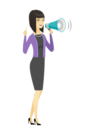 proclaim: Asian business woman with loudspeaker making an announcement. Full length of business woman making an announcement through a loudspeaker. Vector flat design illustration isolated on white background. Illustration