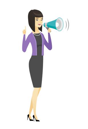 Mujer de negocios asiática con altavoz haciendo un anuncio. Longitud total de mujer de negocios haciendo un anuncio a través de un altavoz. Ilustración de diseño plano de vector aislado sobre fondo blanco.