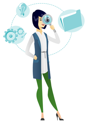inspector: Asian business woman with magnifying glass. Young business woman with magnifying glass. Business woman looking through a magnifying glass. Vector flat design illustration isolated on white background.