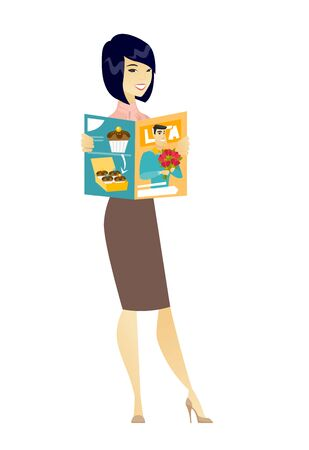 Successful asian business woman reading magazine. Young business woman holding a magazine. Full length of business woman with a magazine. Vector flat design illustration isolated on white background.
