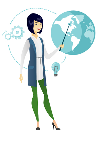 flat earth: Young asian business woman standing in front of globe. Full length of business woman pointing at a globe. Concept of global business. Vector flat design illustration isolated on white background.