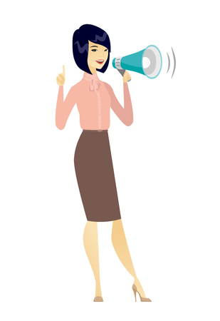 Asian business woman with loudspeaker making an announcement. Full length of business woman making an announcement through a loudspeaker. Vector flat design illustration isolated on white background. Çizim