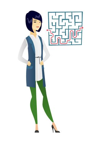 CHALLENGING: Asian businesswoman thinking about business solution. Young businesswoman looking at labyrinth with solution. Business solution concept. Vector flat design illustration isolated on white background.