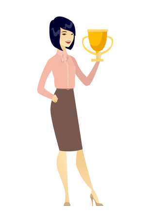 Asian business woman holding golden trophy. Full length of young business woman with trophy. Happy business woman celebrating with trophy. Vector flat design illustration isolated on white background. Illustration