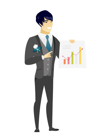 Asian groom giving a business presentation and showing a financial chart. Full length of young groom pointing at a financial chart. Vector flat design illustration isolated on white background.