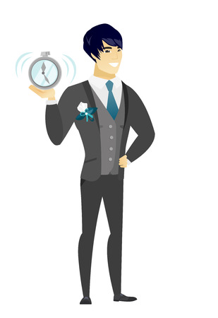 Asian groom in a wedding suit showing a ringing alarm clock. Full length of groom with an alarm clock. Groom holding an alarm clock. Vector flat design illustration isolated on white background. Illustration