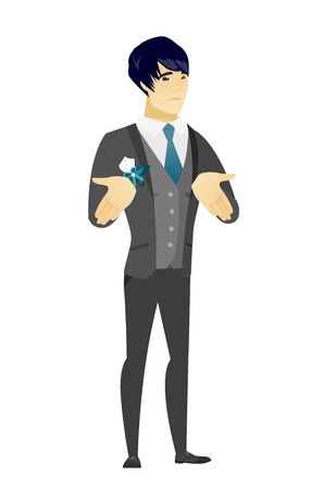 length: Confused asian bridegroom shrugging his shoulders. Full length of young doubtful bridegroom gesturing hands and shrugging his shoulders. Vector flat design illustration isolated on white background.