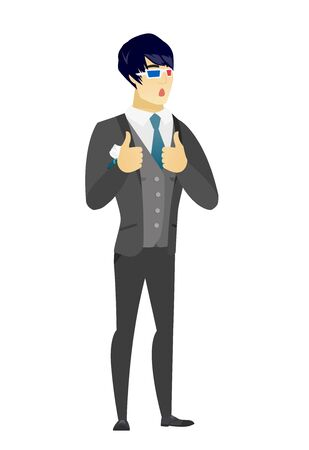 Amazed asian bridegroom watching movie in 3D glasses. Full length of young surprised bridegroom wearing 3d glasses and giving thumbs up. Vector flat design illustration isolated on white background.